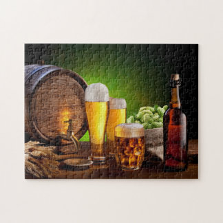 Beer barrel with beer glasses on a wooden table jigsaw puzzle