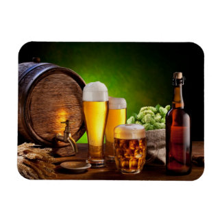 Beer barrel with beer glasses on a wooden table magnet