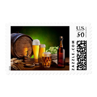 Beer barrel with beer glasses on a wooden table postage