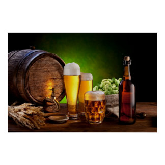Beer barrel with beer glasses on a wooden table poster
