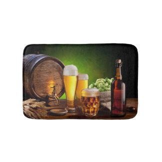 Beer barrel with beer glasses on a wooden table bath mats