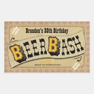 Beer Bash Beer Bottle Label Rectangle Sticker