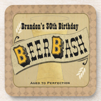 Beer Bash Birthday Coasters
