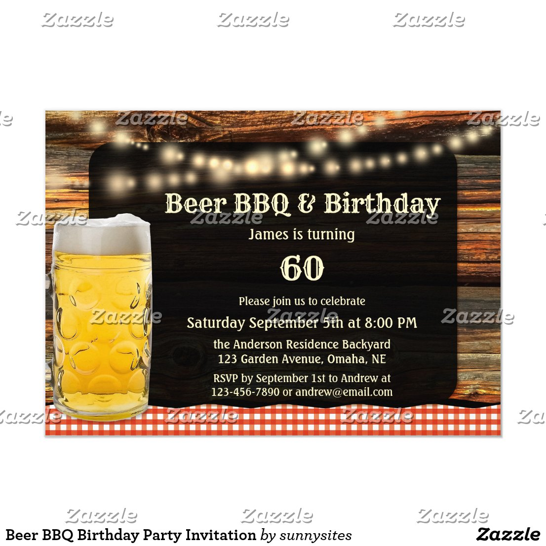 Beer BBQ Birthday Party Invitation