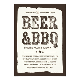 Beer & BBQ | Rustic Rehearsal Dinner Card