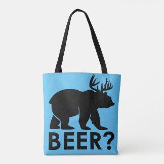 Beer bear blue tote bag