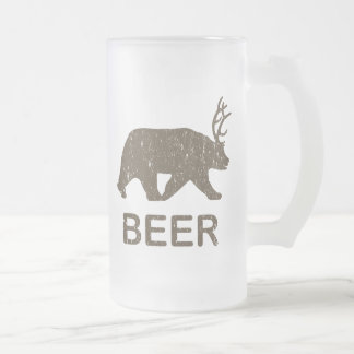Beer Bear Deer Frosted Glass Beer Mug