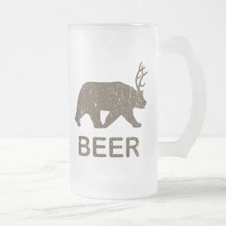 Beer Bear Deer Frosted Glass Beer Mug