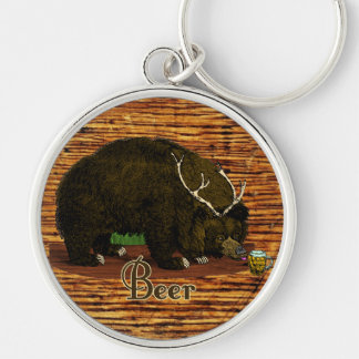 Beer Bear Silver-Colored Round Keychain