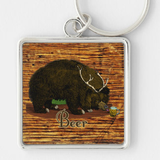 Beer Bear Silver-Colored Square Keychain