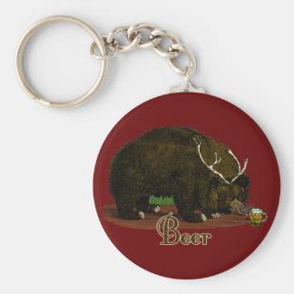 Beer Bear Basic Round Button Keychain