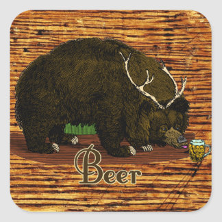 Beer Bear Square Sticker