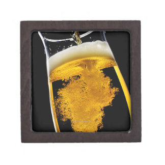 Beer been poured into glass premium gift box