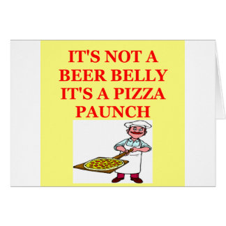 beer belly pizza greeting card