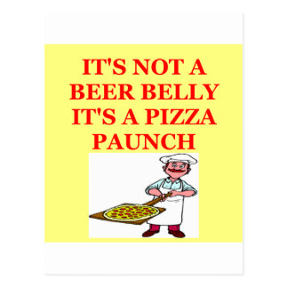 beer belly pizza postcard