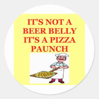 beer belly pizza round sticker