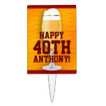 Beer Birthday 40th Personalized Cake Toppers