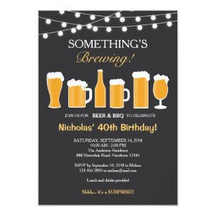 Beer Birthday Invitation Adult