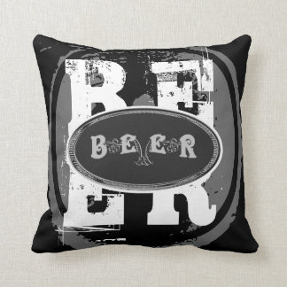 Beer-Black and White Oval Throw Pillow