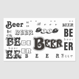 Beer- Black and White Rectangular Sticker