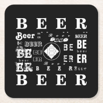 Beer- Black & White Square Paper Coaster