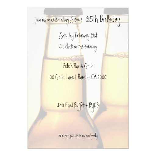 Beer Bottle Birthday Party Invitations