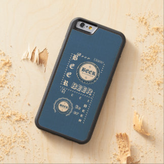 Beer Bottle Cap Collage Blue & White Carved® Maple iPhone 6 Bumper Case