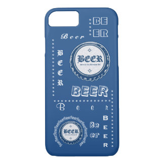 Beer Bottle Cap Collage Blue & White iPhone 7 Case