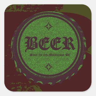 Beer Bottle Cap Green Square Sticker