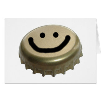 Beer Bottle Cap Smiley Face Card