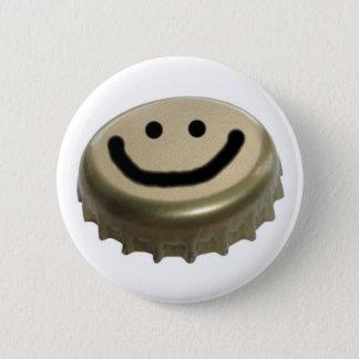 Beer Bottle Cap Smiley Face Pinback Button