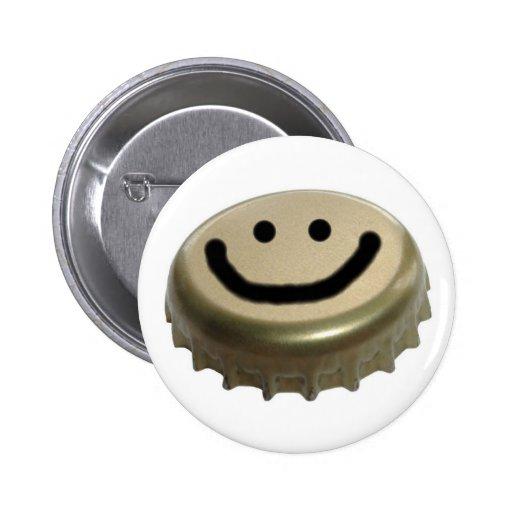 Beer Bottle Cap Smiley Face Pinback Button