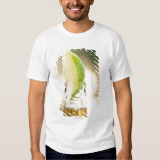 Beer bottle with lime wedge t-shirt