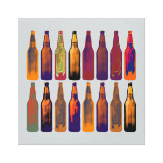beer bottles in colors canvas print