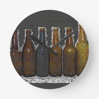 Beer Bottles Round Clock