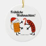 Beer & Bratwurst - Fröhliche Weihnachten! Double-Sided Ceramic Round Christmas Ornament