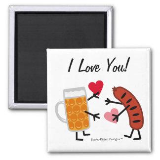 Beer & Bratwurst - I Love You - Valentine's Day 2 Inch Square Magnet
