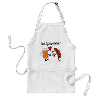 Beer & Bratwurst Ich Liebe Dich! (I Love You) Adult Apron