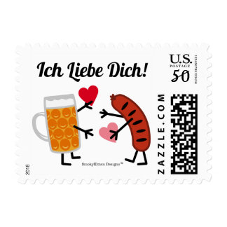 Beer & Bratwurst - Ich Liebe Dich! (I Love You) Postage
