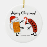 Beer & Bratwurst - Merry Christmas! (customizable) Double-Sided Ceramic Round Christmas Ornament