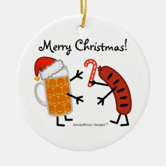 Beer & Bratwurst - Merry Christmas! (customizable) Christmas Tree Ornament
