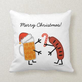Beer & Bratwurst - Merry Christmas! (customizable) Throw Pillow