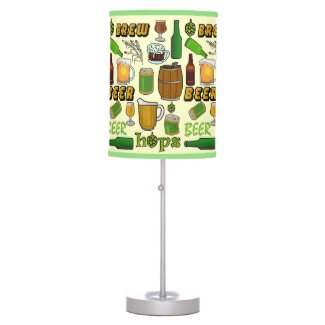 Beer Brew Bar Pattern Table Lamp