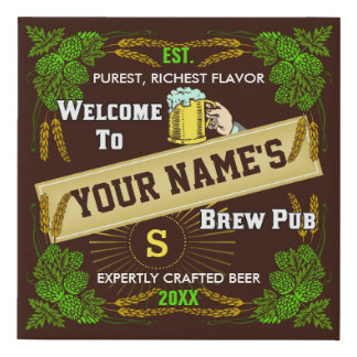 Beer Brew Pub Personalized Name | Hops Barley Bar Faux Canvas Print