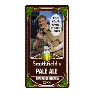 Beer Brewer Custom Photo Brown Homebrewing Bottle Shipping Label