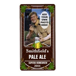 Beer Brewer Custom Photo Brown Homebrewing Bottle Label