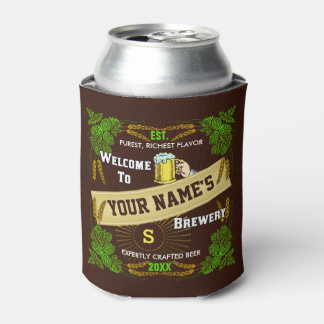 Beer Brewery Hops and Barley Welcome: Personalized Can Cooler