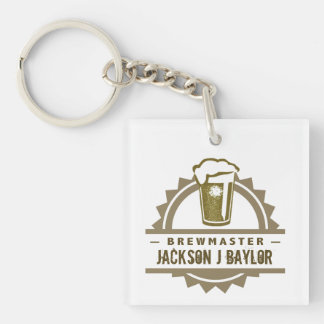Beer Brewmaster Single-Sided Square Acrylic Keychain