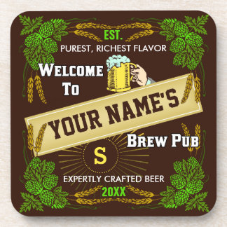 Beer Brewpub Hops Barley Welcome Personalized Coaster