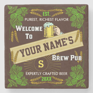Beer Brewpub Hops / Barley Welcome: Personalized Stone Coaster